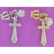 CH 1292 Cross/Crown/Crystal Earring Charm