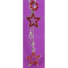 ECS09-9 Silver/Red Dangle Star Set