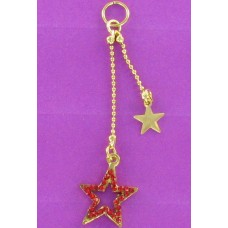 CH 1183R  Red Crystal Dangle Stars Earring Charm